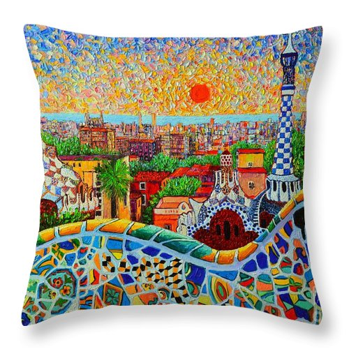 Barcelona Throw Pillow featuring the painting Barcelona View At Sunrise - Park Guell Of Gaudi by Ana Maria Edulescu