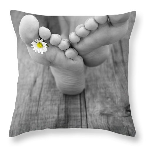 Barefoot Throw Pillow featuring the photograph Barefoot by Aged Pixel