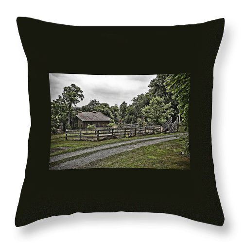Landscape Throw Pillow featuring the photograph Barn And Corral by Guy Shultz