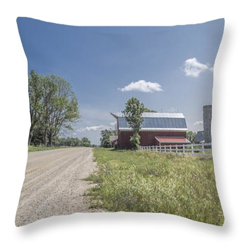 Michigan Throw Pillow featuring the photograph Barn And Dirt Road by John McGraw