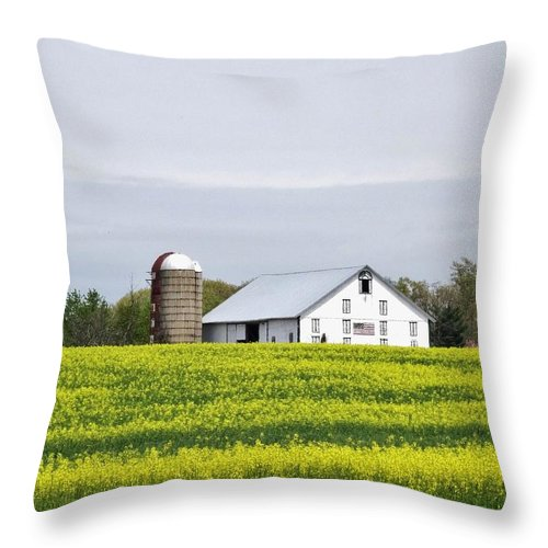 Barn Throw Pillow featuring the photograph Barn And Silos by Scenic Sights By Tara