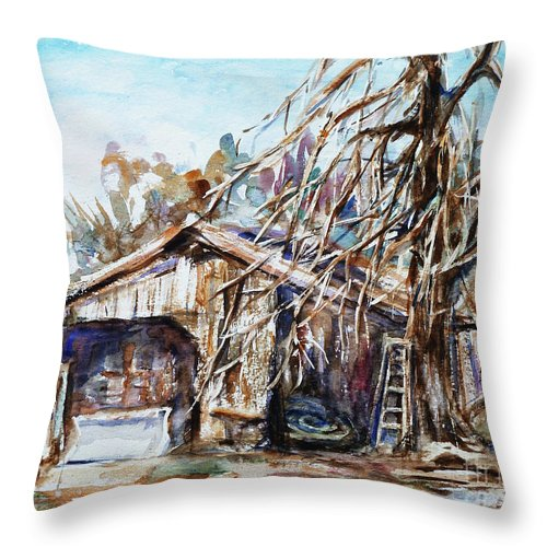 Barn Throw Pillow featuring the painting Barn By The Tree by Xueling Zou