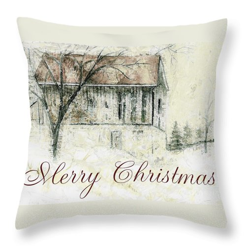 Barn Throw Pillow featuring the mixed media Barn In Snow Christmas Card by Claire Bull
