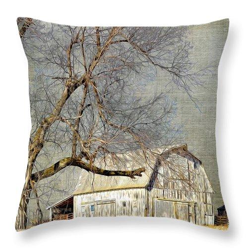 Barn - Missouri's Backroads Throw Pillow featuring the photograph Barn - Missouri's Backroads by Liane Wright