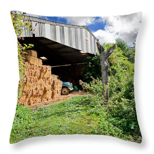 Agriculture Throw Pillow featuring the photograph Barn On Small Farm by Jo Ann Snover