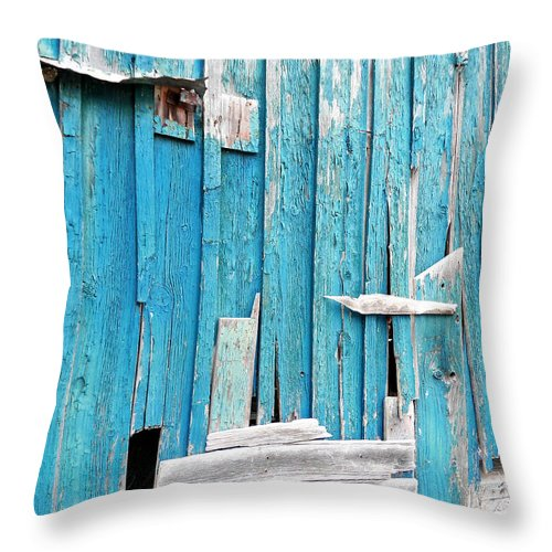 Abandoned Throw Pillow featuring the photograph Barn Wall by Chloe Shackelton