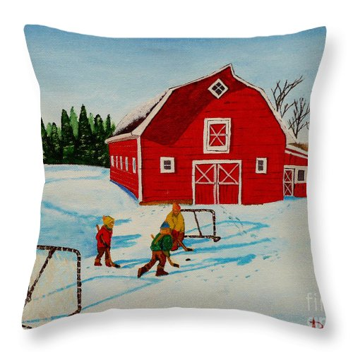 Hockey Throw Pillow featuring the painting Barn Yard Hockey by Anthony Dunphy