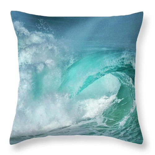 Panoramic Throw Pillow featuring the photograph Barrel In The Surf by Simon Phelps Photography