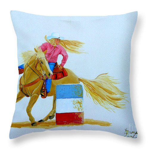 Rodeo Throw Pillow featuring the painting Barrel Racer by Anthony Dunphy