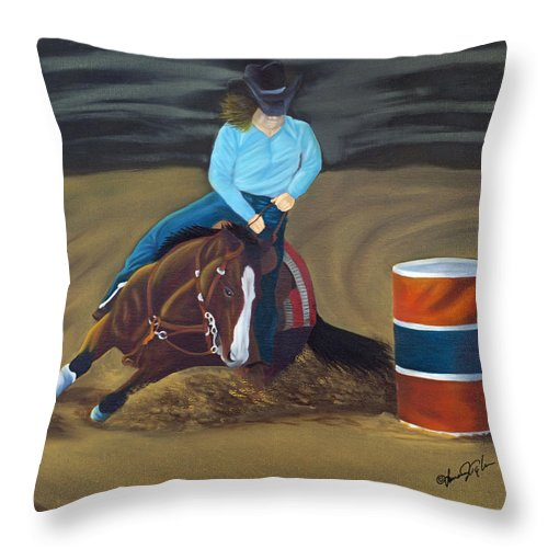 Animal Throw Pillow featuring the painting Barrel Racer by Lana Tyler