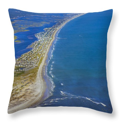 Topsail Throw Pillow featuring the photograph Barrier Island Aerial by Betsy Knapp
