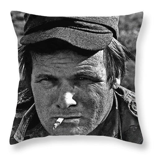 Barry Sadler The Green Berets Homage 1968 Tucson Arizona 1971 Throw Pillow featuring the photograph Barry Sadler The Green Berets Homage 1968 Tucson Arizona 1971-2008 by David Lee Guss