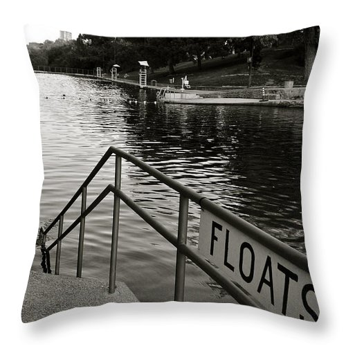 Barton Springs Pool Print Throw Pillow featuring the photograph Barton Springs Pool In Austin by Kristina Deane