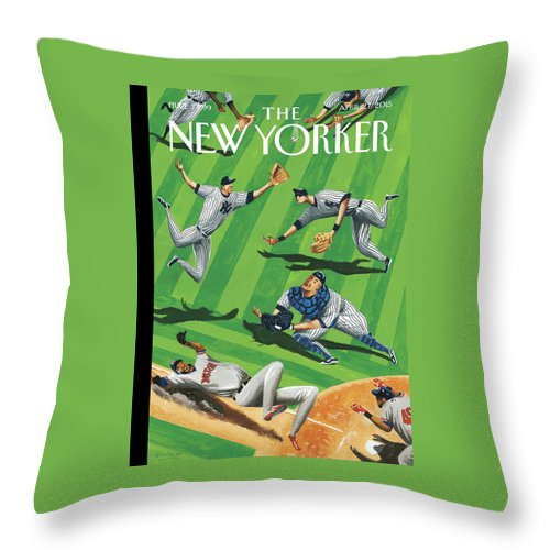 Yankees Throw Pillow featuring the painting Baseball Ballet by Mark Ulriksen