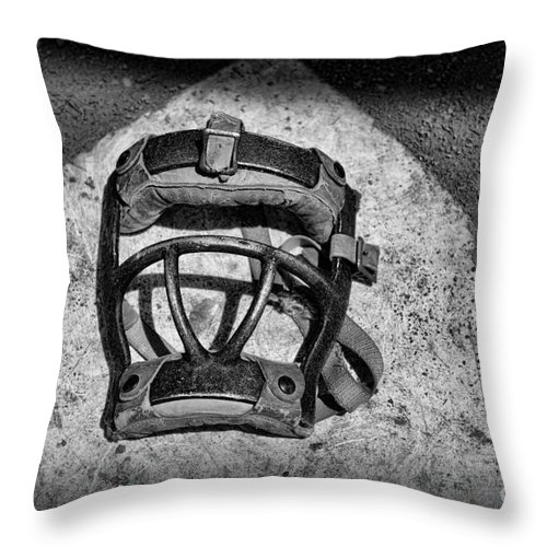 Baseball Catchers Mask Vintage In Black And White Throw Pillow For