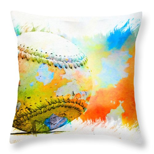 Kenny Francis Throw Pillow featuring the photograph Baseball- Colors- Isolated by Kenny Francis