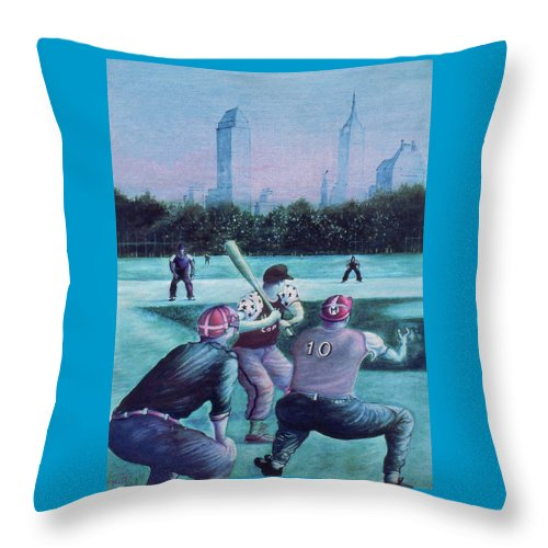 New+york Throw Pillow featuring the painting New York Central Park Baseball - Watercolor Art by Peter Potter