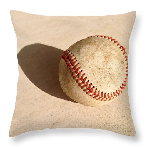 Ball Throw Pillow featuring the photograph Baseball With Shadow by Art Block Collections