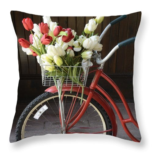 Petals Throw Pillow featuring the photograph Basket Of Tulips by Birgit Tyrrell