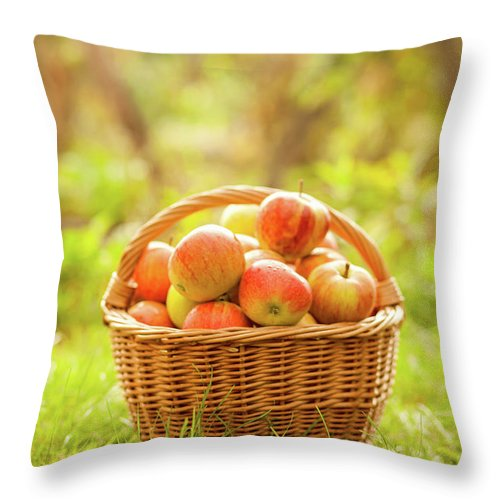 Grass Throw Pillow featuring the photograph Basket With Apples by Tatyana Tomsickova Photography