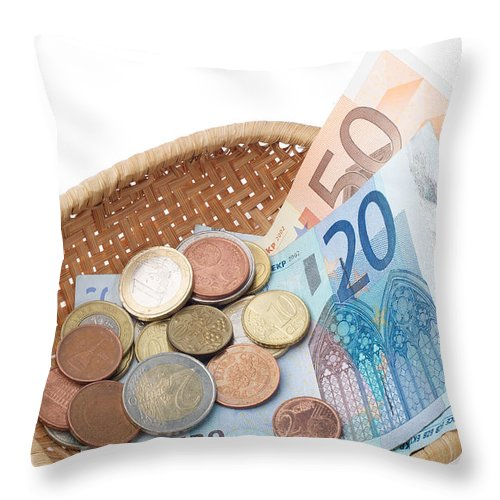 Euro Throw Pillow featuring the photograph Basket With Coins And Banknotes by Alain De Maximy