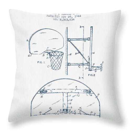 Basketball Throw Pillow featuring the digital art Basketball Goal Patent From 1944 - Blue Ink by Aged Pixel
