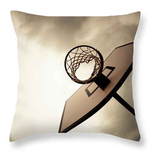 Goal Throw Pillow featuring the photograph Basketball Hoop, Dramatic Sky by Zodebala