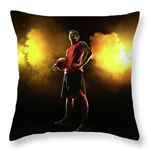 People Throw Pillow featuring the photograph Basketball Player On Smoky Yellow by Stanislaw Pytel