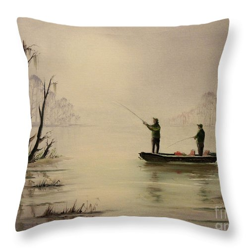 Wide Mouth Bass Fishing Throw Pillow featuring the painting Bass Fishing In Florida by Bill Holkham