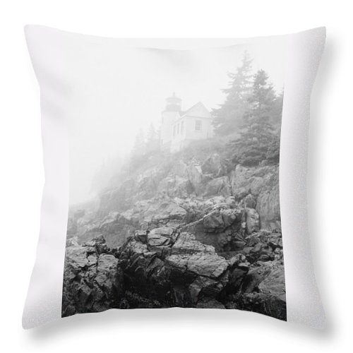 Bass Harbor Head Throw Pillow featuring the photograph Bass Harbor Head Light In Fog by IMH Photog