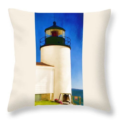Bass Harbor Throw Pillow featuring the photograph Bass Harbor Head Lighthouse Maine by Carol Leigh