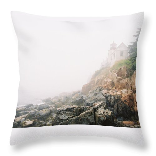 Bass Harbor Throw Pillow featuring the photograph Bass Harbor In Fog by IMH Photog