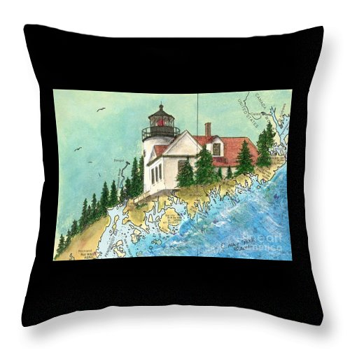 Bass Throw Pillow featuring the painting Bass Harbor Lighthouse Me Nautical Chart Map Art Cathy Peek by Cathy Peek