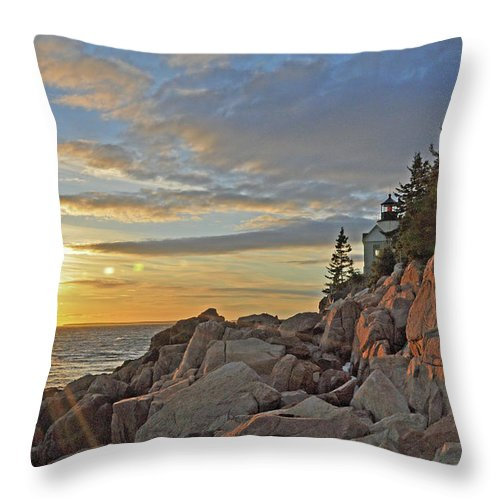 Bass Harbor Lighthouse Throw Pillow featuring the photograph Bass Harbor Lighthouse Sunset Landscape by Glenn Gordon
