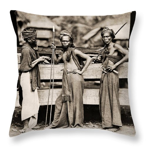 Batak Throw Pillow featuring the photograph Batak Warriors In Indonesia 1870 by Mountain Dreams