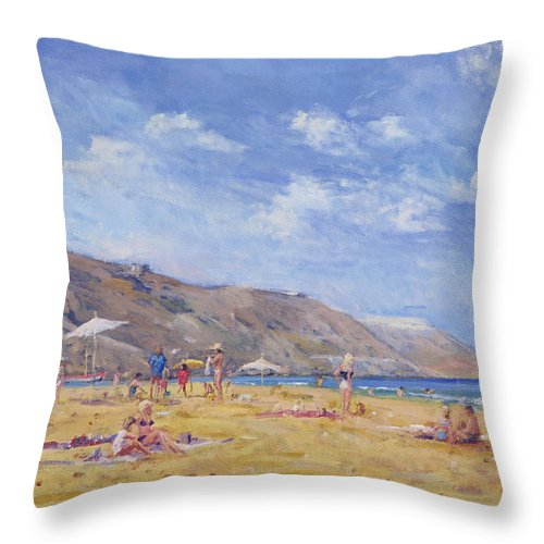 Coast Throw Pillow featuring the painting Bathers, Gozo by Christopher Glanville