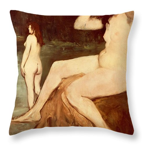 Art Throw Pillow featuring the painting Bathers On Seine by Edouard Manet