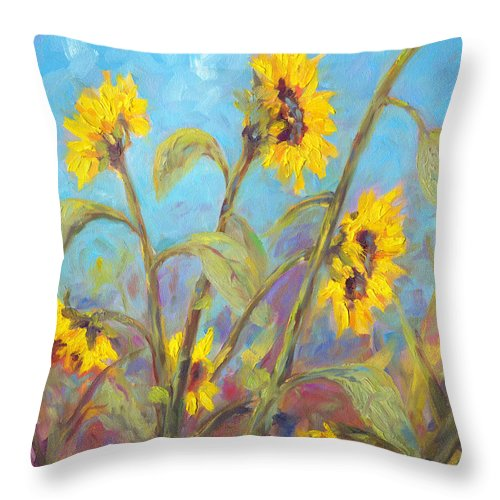 Sunflower Throw Pillow featuring the painting Bathing Beauties by Jeff Pittman