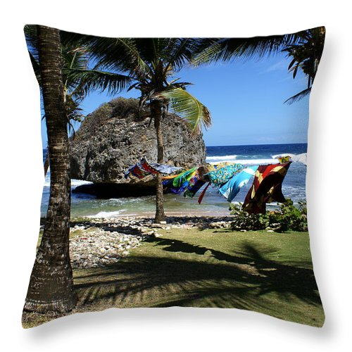 Landscape Throw Pillow featuring the photograph Bathsheba Barbados by Roger Leege