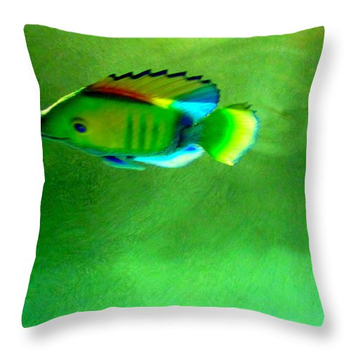 Fish Throw Pillow featuring the painting Battery Operated Fish by Randall Weidner
