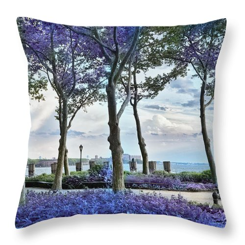 Evie Throw Pillow featuring the photograph Battery Park In The Spring by Evie Carrier