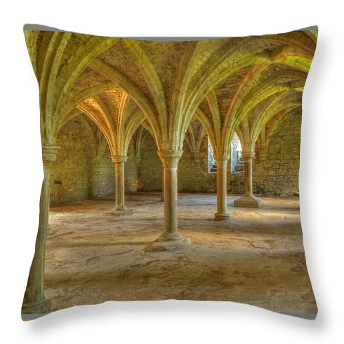 Abbey Throw Pillow featuring the photograph Battle Abbey Cloisters by Stephen Barrie