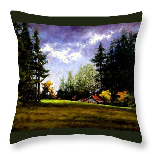 Landscape Throw Pillow featuring the painting Battle Ground Park by Jim Gola