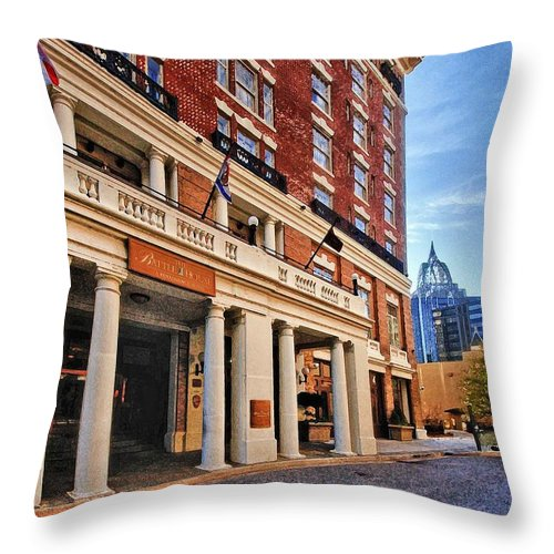 Throw Pillow featuring the digital art Battle House by Michael Thomas