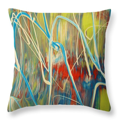 Original Throw Pillow featuring the painting Battle Lines by Artist Ai