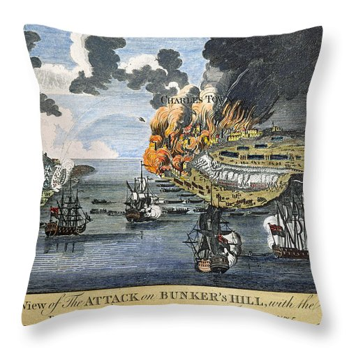 1775 Throw Pillow featuring the photograph Battle Of Bunker Hill, 1775 by Granger
