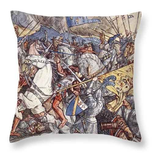 Italian Wars Throw Pillow featuring the drawing Battle Of Fornovo, Illustration by Herbert Cole