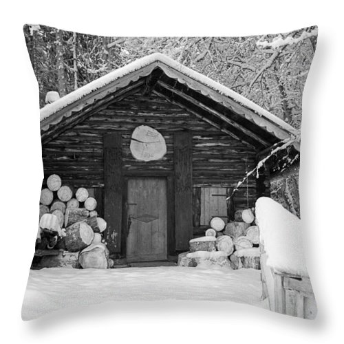 Hut Throw Pillow featuring the photograph Bavarian Hut In Snow by Shirley Radabaugh