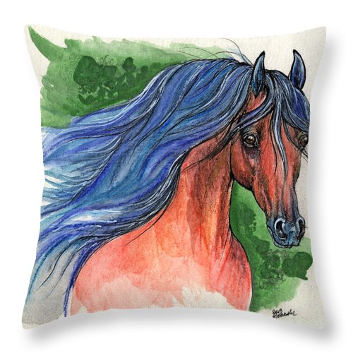 Throw Pillow featuring the painting Bay Arabian Horse With Blue Mane 30 10 2013 by Angel Ciesniarska