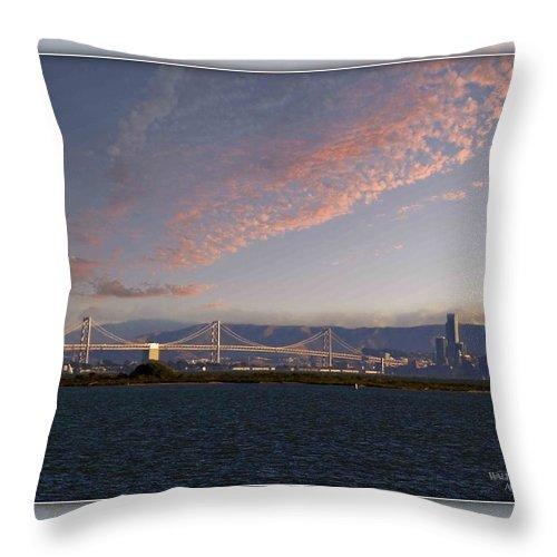 Bay Bridge Throw Pillow featuring the photograph Bay Bridge by Walter Herrit